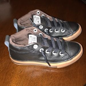 Brand new converse black leather sneakers size 13